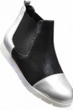 Pantofelek24.pl | Łączone botki damskie ze srebrnymi noskami(112083038)