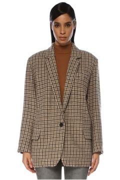 Etoile Isabel Marant Kadın Kahverengi Kazayağı Desenli Yün Blazer Ceket 34 FR(119423219)