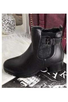 Pantofelek24.pl | Zimowe botki z kożuszkiem na klocku CZARNE(112082758)