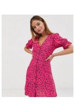 New Look Petite - Durchgeknöpftes rosa Kleid mit Blümchenmuster - Rosa(94962449)