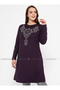 Purple - Crew neck - Plus Size Tunic - Efraze(110329608)