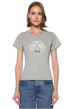 Kenzo Kadın Gri Kaplan Nakışlı Basic T-shirt XS EU(122583432)