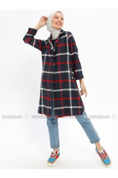 Navy Blue - Checkered - Unlined - Shawl Collar - Cotton - Topcoat - Beha Tesettür(110320384)