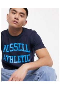Russell Athletic - T-shirt blu navy con scritta del logo stile college(121235812)