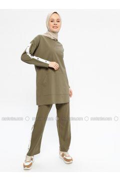 Khaki - Cotton - Crew neck - Tracksuit Set - Hatun Atila(110332298)