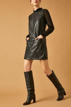Koton Kadın Deri Görünümlü Elbise(113423598)