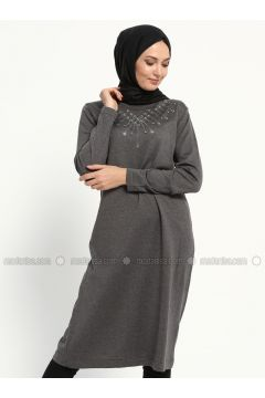 Gray - Crew neck -- Tunic - NOVİNZA(110314300)