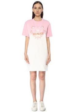 Kenzo Kadın Gradient Tiger Pembe Beyaz Nakışlı Mini Elbise L EU(116947979)