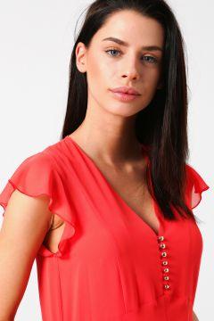 Beymen Studio Fırfırlı Tül Somon Midi Elbise(113976572)