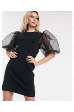 Never Fully Dressed - Vestito midi in maglia nero con maniche a sbuffo(120331266)