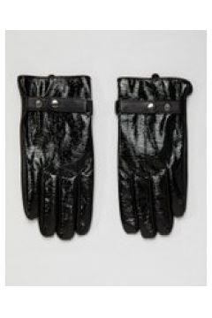 ASOS DESIGN - Touchscreen-Handschuhe aus schwarzem Leder in Vinyloptik - Schwarz(86680409)