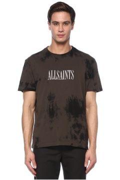 Allsaints Erkek Tie Dye Antrasit Logolu Basic T-shirt Gri S EU(117446658)