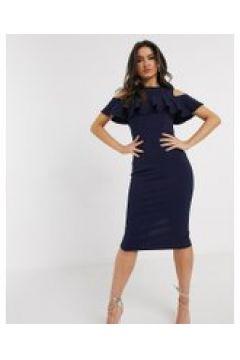 Girl In Mind - Vestito midi con spalle scoperte blu navy(120330245)