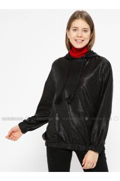 Black - Sweat-shirt - İkoll(110319980)