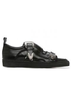 Toga Virilis Erkek Siyah Çift Kemerli Aksesuarlı Deri Sneaker 42 EU(126735588)
