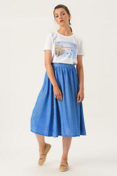 Vero Moda Açık Mavi Denim Etek(113981019)