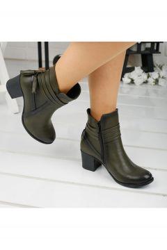 Ayakland 8422-832 Kadın Haki 6cm Topuk Bot Cilt Ayakkabı(121599002)