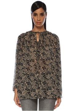 Etoile Isabel Marant Kadın Liliana Siyah Çiçekli Bağcık Detaylı Bluz 34 FR(120138863)