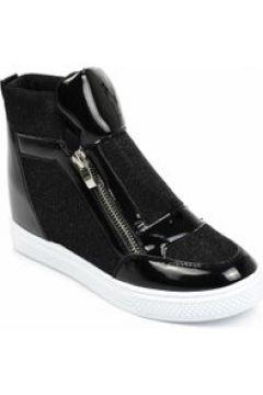 Trampki sneakersy na koturnie Czarne(112082815)