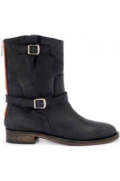 Boots Via Roma 15 Bottines modèle Brooklyn en cuir graissé noir avec zip(115502723)
