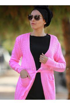 Pink - Acrylic - Cardigan - Myzen(110333237)