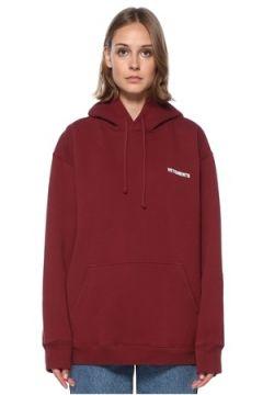 Vetements Kadın Bordo Kapüşonlu Logolu Sweatshirt XS EU(122583470)