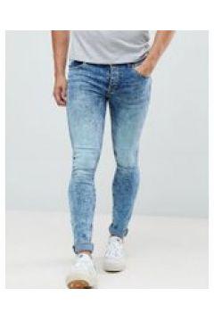Saints Row - Superschmale Jeans in blauer Acid-Waschung - Blau(86680103)