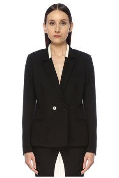 Stella McCartney Kadın Siyah Yaka Detaylı Kruvaze Yün Blazer Ceket 40 IT(113942335)