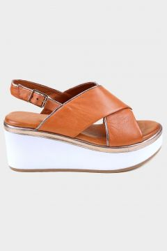 KAMMI Taba Hakiki Deri Kadın Dolgu Topuk Sandalet(118221775)