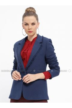 Navy Blue - Stripe - Fully Lined - Shawl Collar - Jacket - Fashion Light(110335032)