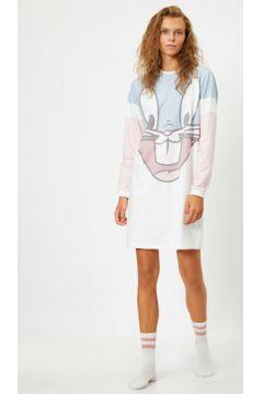 Koton Kadın Warner Bros Lisansli Bugs Bunny Baskili Uzun Kollu Gecelik(120941362)