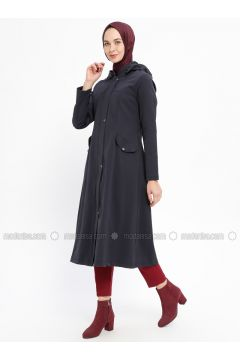 Navy Blue - Fully Lined - Crew neck - Acrylic - Topcoat - Night Blue Collection(110331452)