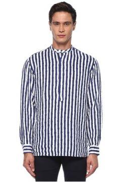 Lardini Erkek Lacivert Beyaz Yakası Düğmeli Çizgili Keten Gömlek L EU(121612600)