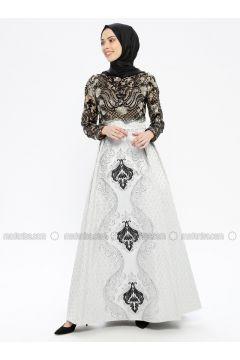 Black - Multi - Fully Lined - Crew neck - Muslim Evening Dress - Robir(110320658)