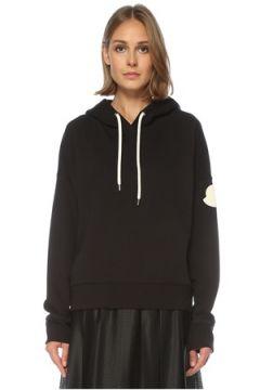Moncler Kadın Siyah Kapüşonlu Logo Baskılı Sweatshirt S EU(122296611)