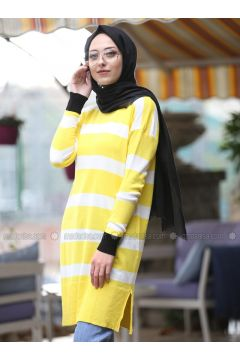 Yellow - Stripe - Crew neck -- Tunic - İnşirah(110323358)
