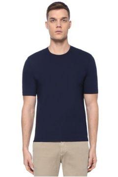 Lardini Erkek Lacivert Basic T-shirt 52 IT(107373309)