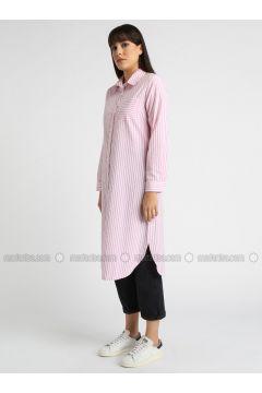 Pink - Stripe - Point Collar - Tunic - MY MOOD(110339636)