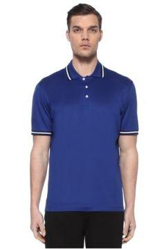Luciano Barbera Erkek Lacivert Polo Yaka T-shirt Mavi L EU(113466268)