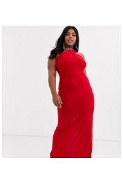 Club L London Plus - Vestito lungo monospalla con spallina rosso(120327290)