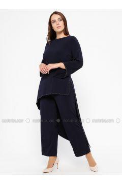 Navy Blue - Crew neck - Unlined - Plus Size Suit - Efraze(110329600)