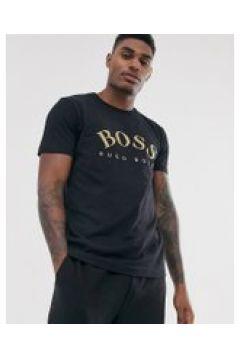 BOSS - Athleisure - Schwarzes T-Shirt mit Logo in Gold - Schwarz(95033112)