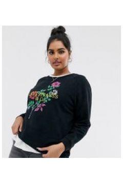 Levi\'s Plus - Lässiges Sweatshirt mit Rundhalsausschnitt und Blumenstickerei - Schwarz(95023888)