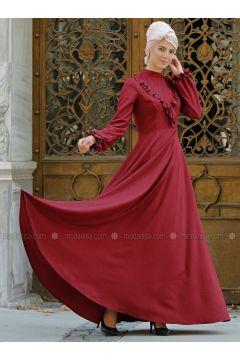 Maroon - Polo neck - Fully Lined - Dresses - Nurkombin(110323518)