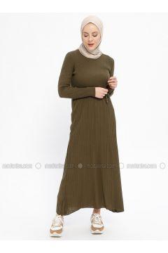Khaki - Crew neck - Unlined - Wool Blend -- Dresses - Veteks Line(110334939)