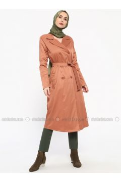 Brown - Unlined - Shawl Collar - Trench Coat - Tavin(110330902)