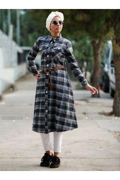 Navy Blue - Plaid - Point Collar - Unlined - Dresses - Myzen(110331630)