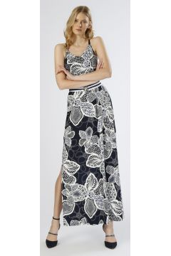 Network Yırtmaçlı Lacivert-Beyaz Elbise(113961091)