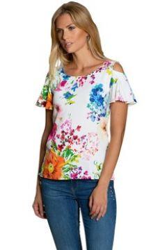 T-shirt Bleu D\'azur Tshirt été chic fleuri manche volantée courte Cocoa(98532648)