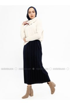 Navy Blue - Unlined - Skirt - Ginezza(110332081)